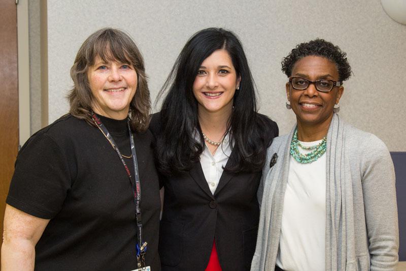 Schervier Pavillion's Kari Call, DIrector of Recreation; Lisa Brocky, Administrator; and Lillian Alberti, Recreation Aide.