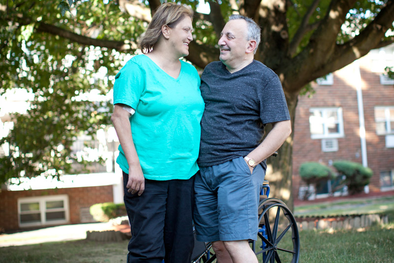 man and woman in park